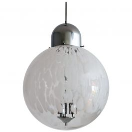 Vintage Murano Glass Globe and Chrome Pendant Light, 1970s