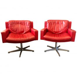 Pair of De Sede RH201 Red Leather Swivel Armchairs