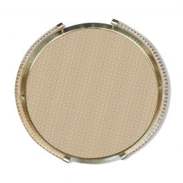 1950s Circular Brass Tray with Pléxi and Cannage