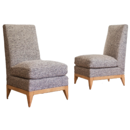 A PAIR OF SYCAMORE UPHOLSTERED SLIPPER CHAIRS