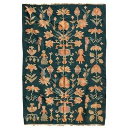 Mid-Century Modern Wall Tapestry Green Rug