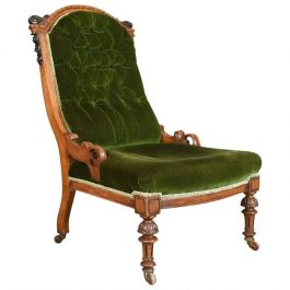 Antique Chair, Scottish, Oak, Button Back, Nursing, Salon, Victorian Circa 1850