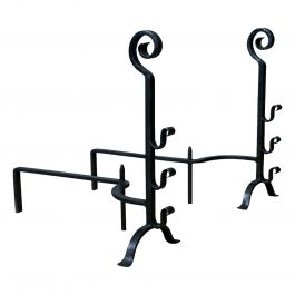 Pair of Large, Gothic, Wrought Iron Fire Dogs, Medieval Revival Andirons