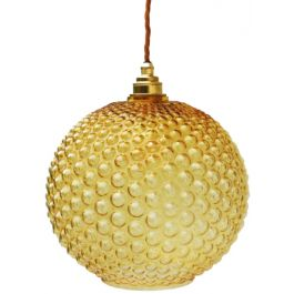 Amber Bubble Glass Pendant Light Globe 1970s France