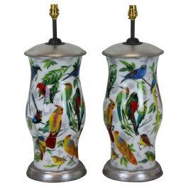 Pair of Hand Painted Declamania Lamps Depicting Tropical Birds