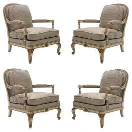 Rare Neoclassical Set of 4 Armchairs Signed by Maurice Hirsch, 1970s