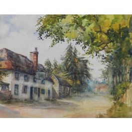 English Country Lane 19th century Watercolour signed initials MEBc1890