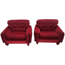 Mid-Century Modern Pair of Italian Corduroy Armchairs with Wooden Basement, 1970