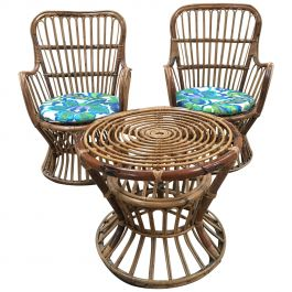 Midcentury Italian Bamboo and Rattan Living Room Set from 1960s