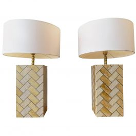Pair of French Marble and Brass Table Lamps