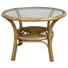 VINTAGE 1970S BAMBOO AND GLASS COFFEE TABLE