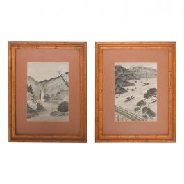 Pair of Silk Embroidery Paintings Asian Landscape Art Work