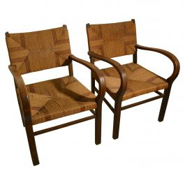 Pair of Early Bauhaus Armchairs Wood and Rope by Erich Dieckmann
