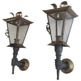 PAIR OF PLUM & BRASS HANDS WALL LANTERNS
