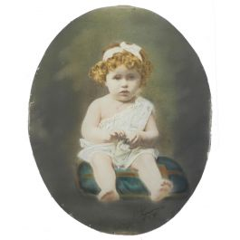 Antique Photograph of a Young Child by French Photographer Legarcon 1921 Framed c1921