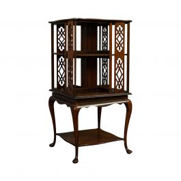 Antique Revolving Library, English, Walnut, Bookcase Table Edwardian, circa 1910