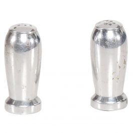 Pair of Aluminum Pepper & Shakers Airstream Industrial Mid Century era