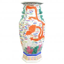 Mid-20th Century, Chinese, Hexagonal, Baluster Vase, Oriental Ceramic Urn