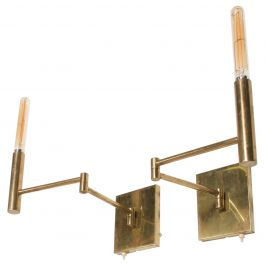 Mid-Century Modern Brass Wall Sconces, After Lightolier