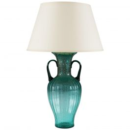 Large Turquoise Murano Glass Vase with Handles as a Table Lamp