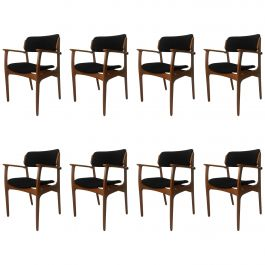 1950s Erik Buch Set of Eight Model 50 Armchairs in Oak