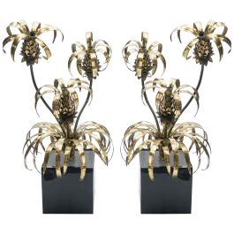 Rare Pair of Hollywood Regency Brass Maison Jansen Pineapple Floor Lamps, 1970s