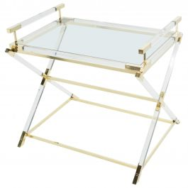 Rare French Side Tray Table Lucite and Brass Maison Jansen, 1970s