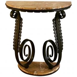 Original Edgar Brandt Jugendstil Console Table Marble and Wrought Iron, 1930s