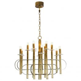 Brass and Nickel Sputnik Chandelier by Sciolari Italy 1960's