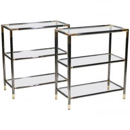 French Gunmetal and Brass Three-Tiered Shelves, 1970s