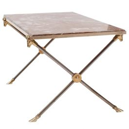 Brass, Nickel and Marble Coffee Table by Maison Ramsay
