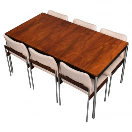 Brazilian Rosewood and Chrome Dining Set by Thereca, Netherlands, 1960s