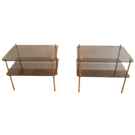 Pair Of Brass & Smoked Glass Side Tables. 1970'S