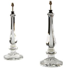 A pair of clear glass baluster lamps