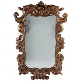 18th Century Italian Silver Gilt Mirror with Mercury Glass Plate