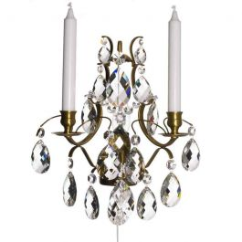 Wall Sconce Baroque cognac coloured with almond crystals