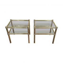 1970s Pair of Brass Side Tables