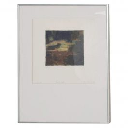 Classic Modernist Abstract Landscape Signed Aluminum Frame