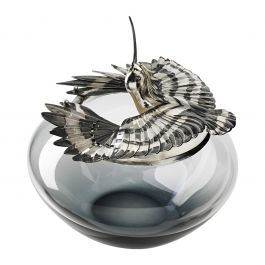 Grey Glass Bowl With Sterling Silver Sculptural Lid