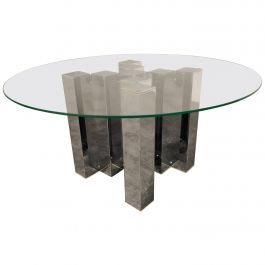 Vintage Chrome Cityscape Coffee Table, 1970s