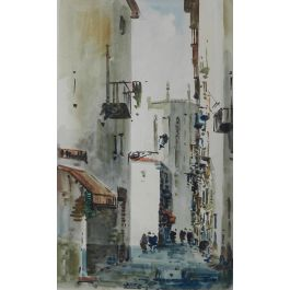 Unknown Spanish Watercolor Street Scene signed Diaz Mid century mid century