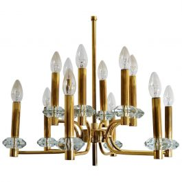 Vintage Brass and Glass Chandelier with 12 Lights from Palwa, 1960s