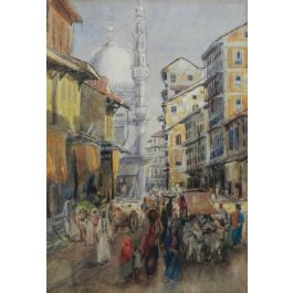 Street Scene Watercolour signed initials FYS 18941894