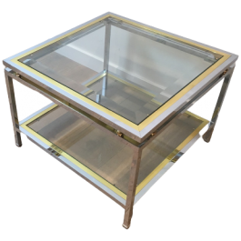 CHROME & BRASS SIDE TABLE OR SMALL COFFEE TABLE