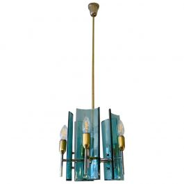 Italian Brass and Glass Pendant by Cristal Arte