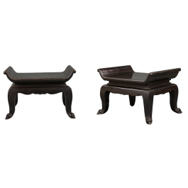 A pair of black lacquer low tables, in the manner of Maison Atelier Martine