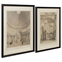 Cathedral Art Italian Architectural Scene Lithograph, Pair