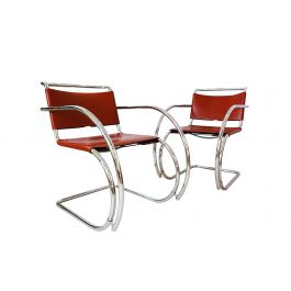 Cognac leather and chrome MR20 Knoll Mies van der Rohe MR20 armchairs