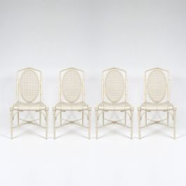 Faux Bamboo Dining Chairs, 1970s, Set of 4