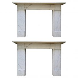 Pair of 19th Century English Veined White Marble Fireplace Mantels